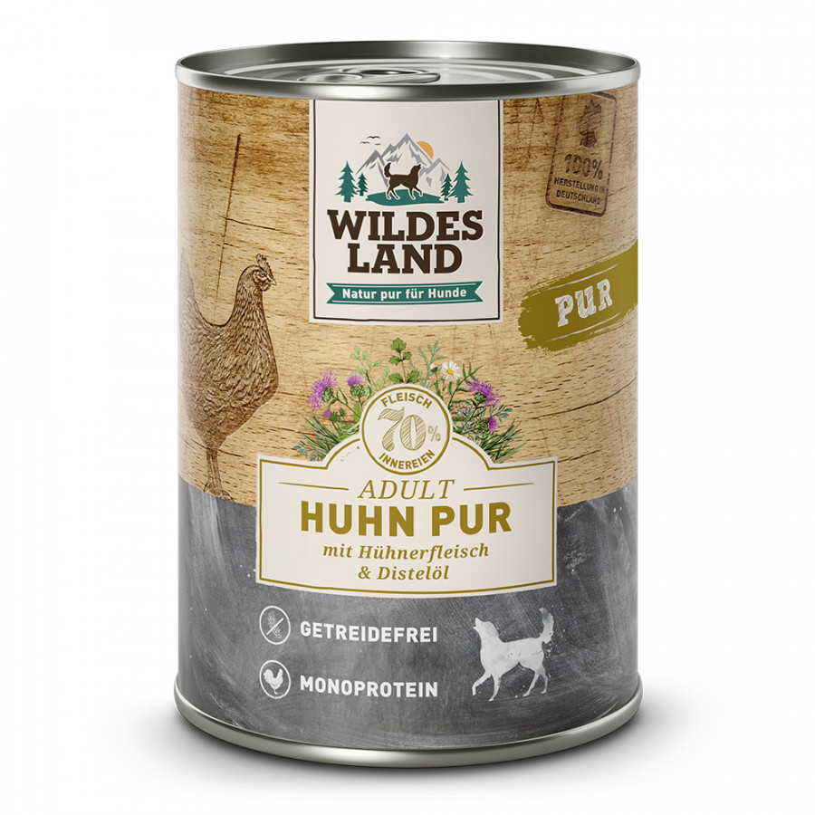 Wildes Land - Hunde-Nassfutter - Huhn PUR